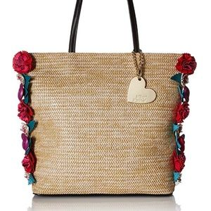 Betsey Johnson Natural Straw Floral Tote